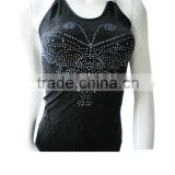 black seamless camisole with diamond without sleeves or tank top