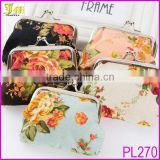 Fashion Design Rose Flower Pattern Cotton Coin Purse Women Change Purse Hasp Wallets Female Coin Bag