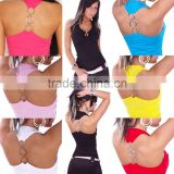 Sexy Womens Sleeveless Halter Neck Fashion Tank Top With Rings