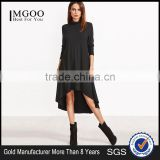 Black Cowl Neck High Low Swing Dress 95% Rayon 5% Spandex Long Sleeve Lady Fashion Daily Tee Dress Custom