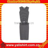 Fashion cotton spandex black and white striped sleeveless long pencil dress for women