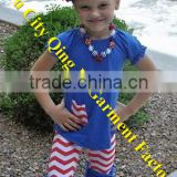 Chic Baby Girls Chevron Boutique Outfit Kids Blue 4th of July Holiday Ruffle Pants two pieces Sets