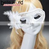 Fancy dress party cloth yarn translucent lace brought feather flowers and a half face eye masks