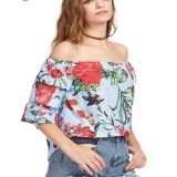 1/2 Sleeve Floral Print Off Shoulder Casual Women's Top Blouse