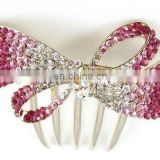 2013 newest fashion alloy rhinestone hair comb fork