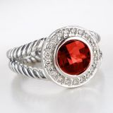 Gemstone Jewelry 8mm Garnet Petite Albion Ring(R-013)
