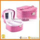 popular sell pink red leather jewlery display box with mirror,custom make locked pink leather multi-drawer jewelry box case                                                                         Quality Choice