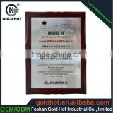 Factory supply certificate plaque wooden with aluminum foil