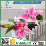greenflower 2016 Wholesale 3 heads big Latex PU Artificial Flowers Lily Real Touch Bouquet Wedding decrations flowers