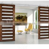 Simplicity Modern style sliding wood barn door grill door design Barn Door with glass                                                                                                         Supplier's Choice
