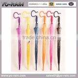 stick hands free transparent candy color spcial creative new handle POE fashion umbrella