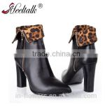 OEM ODM pointed toe cow leather chunky heel ankle boots fashion women's boots shoes