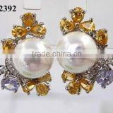 2012 latest pearl earrings stud cz