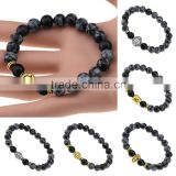 New Hot Models Natural Black Alabaster Bead Gold Silver Plated Buddha Leopard Head Bracelet Charm Stretch Beaded Yoga Bracelet