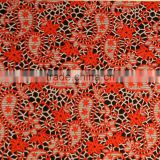 57 polyester 43 rayon orange and red color cationic dye geometric cashew pattern jacquard fabric