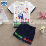 (TK1080) White 2-6Y Neat boy summer sets children clothing suits cheap guangzhou wholesale