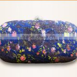 Cheapest price for fashion environment friendly fabric satin printed bags designer box clutch bags