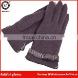 Wholesale Price Ladies Buckled Woolen Fashion Dress Gloves with PU Belt Detail; Smartphone Texting Wool Gloves