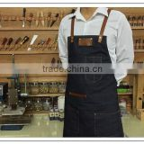 Custom high quality denim work apron with leather                                                                         Quality Choice