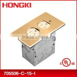 floor socket with brass duplex recessed cover UL/CUL LISTED
