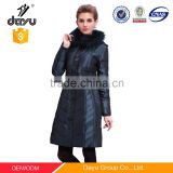 90% feather down jacket for woman winter with fur collar style Long Design Quilted Winter Coat