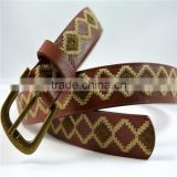 manufacturer antique brass buckle geometric embroidered pu leather belt for women