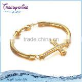 2016 new premier 316 l stainless steel cz gold chain bracelet