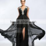 Alibaba Elegant Applique Long New Designer V Neck Black Chiffon Beach Evening Dresses Or Bridesmaid Dress LE16