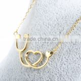 Hot Sale Stainless Steel 316L Stethoscope pendant with 14K Gold color High polish finished