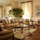 French Style Classic Leather Living Room Sofa Set/Handmade Curved Sofa Couch