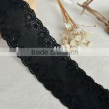 D835 New style fashion black stretch cotton guipure embroider lace trimming for ladies dress