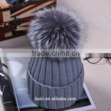 Unisex Soft Knitted Hat Raccoon Fur Ball Lady Skullies & Beanies Women Headgear Men Casual Cap Girl Bonnet Good Gifts