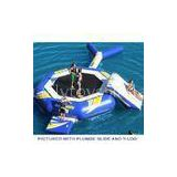 blue yellow Inflatable Water Games for sea , steel frame Water Trampoline with Blast Bag