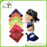 Wholesale fashion custom embroidery / printed multifunctional polyester handkerchief bandana