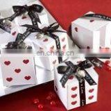 """Lucky in Love"" Dice Favor Boxes with Imprinted Ribbon and Heart Charm"