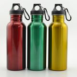 wide mouth 500ml 750ml stainless steel water bottle with carabiner