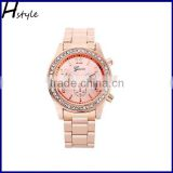 GENEVA Metal Classic Boyfriend Designer Chronograph Style Ladies Watches Rose Gold WP016