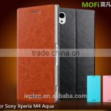 MOFi PU Leather Flip Cases Cover for Sony Xperia M4 Aqua, UltraThin Cell Phone Case