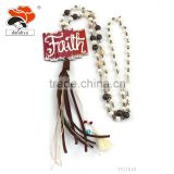 hot new product cheap Imitation pearl factory price leather Listing letter jewelry necklace