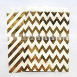 Free Sample Foil Gold Chevron Striped Party Paper Bags for Gift Packaging