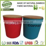 colorful round canister with wooden cover,bamboo fiber food storage box