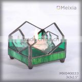 MX040033 china wholesale tiffany style stained glass candle holder for gift set or home decoration item