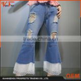 2016 China wholesale Latest fashion flared jeans pant distressed jeans pant lace opening new model jeans pants for women                                                                         Quality Choice