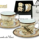 CARMANI Helga shape CUP&SAUCER with LEONARDO DA VINCI artwork!