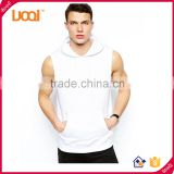 Blank Sleeveless European Style Men's Hoodies, Custom Stringer Hip Hop hoody For Man