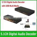 optical to 5.1 converter with USB multi-media 5.1ch digital audio decoder with USB Multi-Media SPDIF digital audio decoder