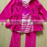 2015 wholesale children clothing set girls boutique 3pcs outfits with coat with hood