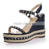 2016 fashion casual shoes breathable high quality lady wedge women sandals with rivets wholesales price