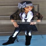 hot sale cool black lace top chevron pants sets baby girls fall winter boutique outfit