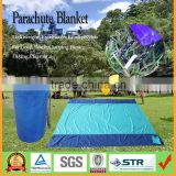 Lightweight Ultra Compact Parachute Nylon Beach Picnic Camping Outdoor Blanket, Sand Proof with 4 Stakes